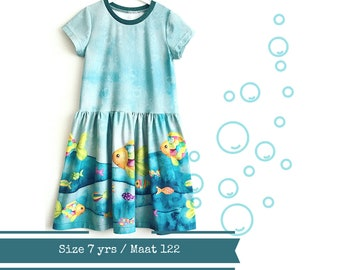 Last one: size 7. Girls dress with colourful fish