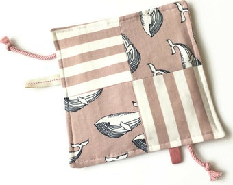 Baby taggie blanket with whales and stripes