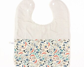 Large baby or toddler bib. White cotton with flowers. White cotton with blue stripes. White terry cotton back. Baby shower gift.