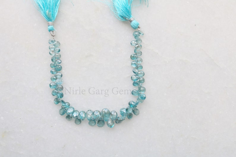 HAPPYMARCH Natural Blue Zircon Pears 8 inches Cambodia 4.5x7 to 8x11 mm Natural Blue Zircon Cambodia