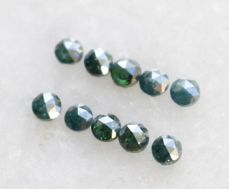 SOLD Natural Loose Blue Diamond Rose Cut Round 10 pieces 3 MM I3 Diamond for jewelry