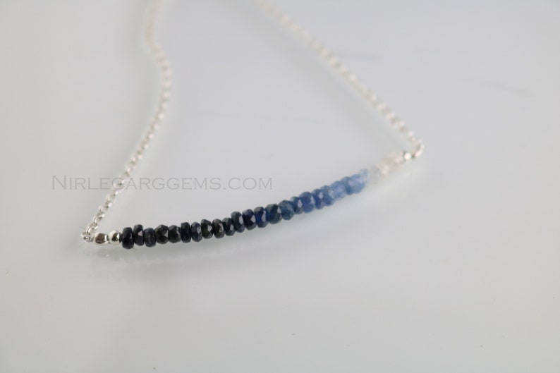 Natural Sapphire silver Chain Necklace  Natural Blue Sapphire Shaded beads Necklace,92.5 Sterling Silver December Birthstone