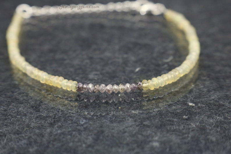 HAPPYMARCH Natural Pink Diamond Beaded Bracelet AAA Natural Opal Bracelet Genuine Diamond Jewelry