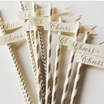 Paper Straws with Flags - Calligraphy - Set of 25