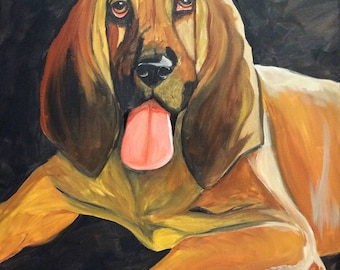 Acrylic Painting of a Blood Hound Dog