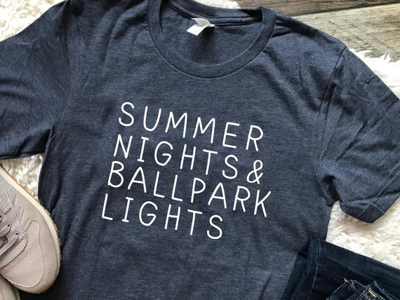 548436b366b4 Summer Nights Ballpark Lights Baseball Mom Shirt Baseball