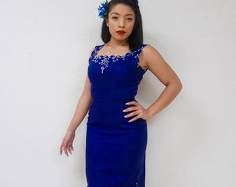 VLV Blue Bombshell Wiggle Dress with Matching Jacket