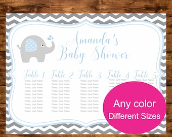 Elephant Baby Shower Seating Chart Printable Table Decoration