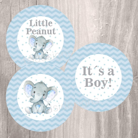 Blue Elephant Baby Shower Printable Centerpieces Instant Etsy