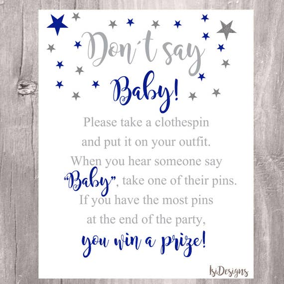 image regarding Don't Say Baby Sign Free Printable named Dont Say Boy or girl Indication, Child Shower Sport, Printable Royal Blue