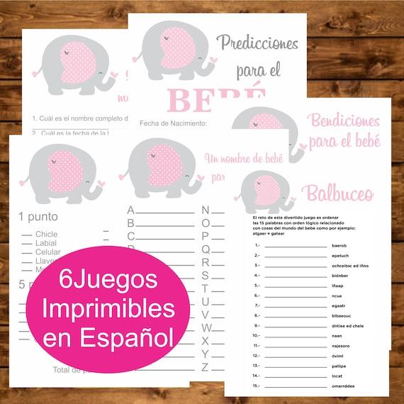 Juegos Imprimibles Baby Shower Instant Download Pack Juegos Etsy