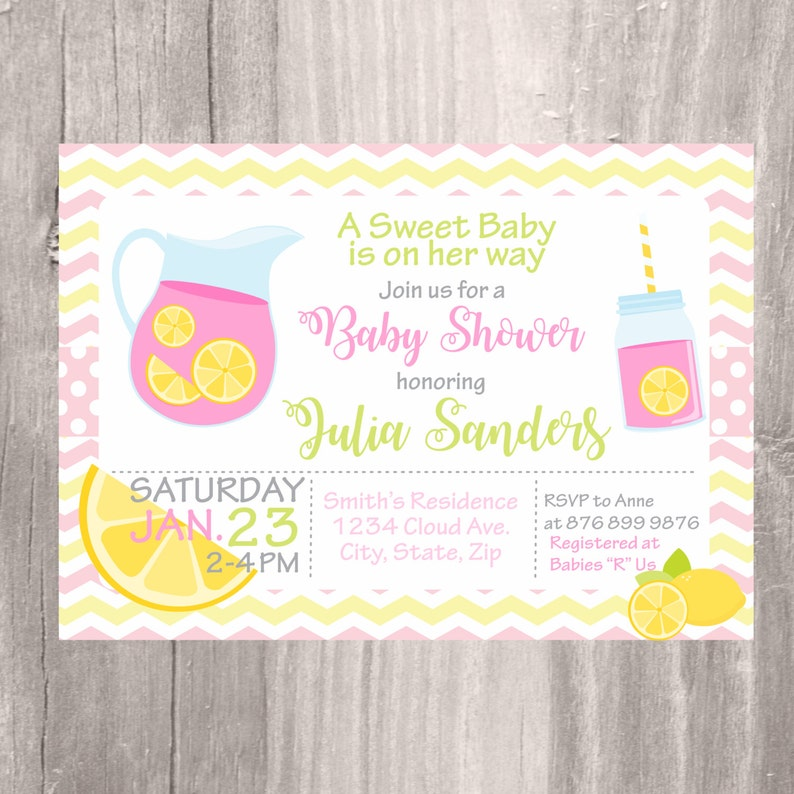 picture relating to Baby Shower Printable Invitations identify Child Shower Printable Invitation, Red Lemonade Youngster Shower Invite, Purple and Yellow Female Child Shower Printable Invitation, Spring Shower