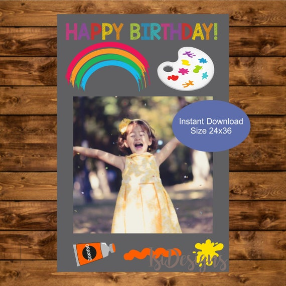 Art Party Photo Booth Frame Instant Download Printable 24 X 36