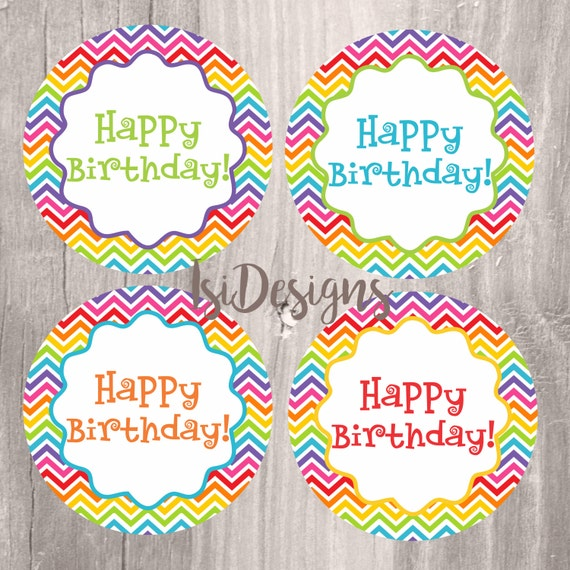 Rainbow Printable Happy Birthday Centerpieces, Instant Download, Birthday Rainbow Printable Party Cirles, Happy Birthday Party Decoration
