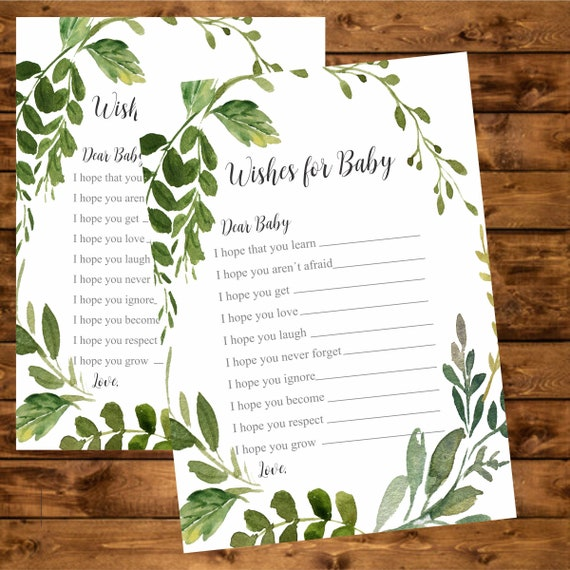 instant Shower games Instant Download Baby Shower Game Printable Wishes for Baby Card Greenery Baby Shower Game AG-15