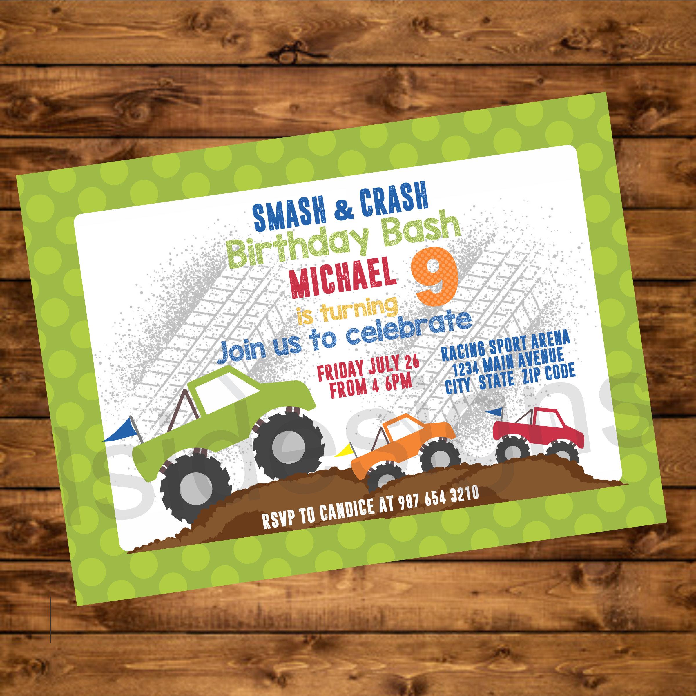 Monster Trucks Party Invitation Truck Birthday Party Etsy