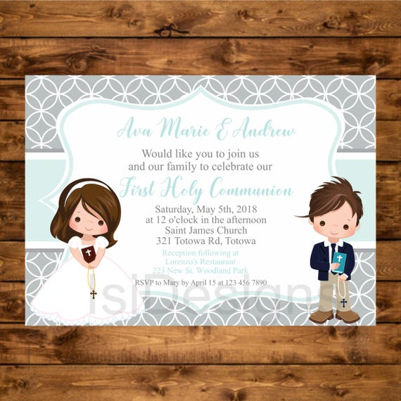 image about Printable First Communion Invitations identified as Initial Communion Invitation, Printable To start with Holy Communion Boy and Lady Invite, Invitacion Primera Comunion, Mint Siblings Communion Invite
