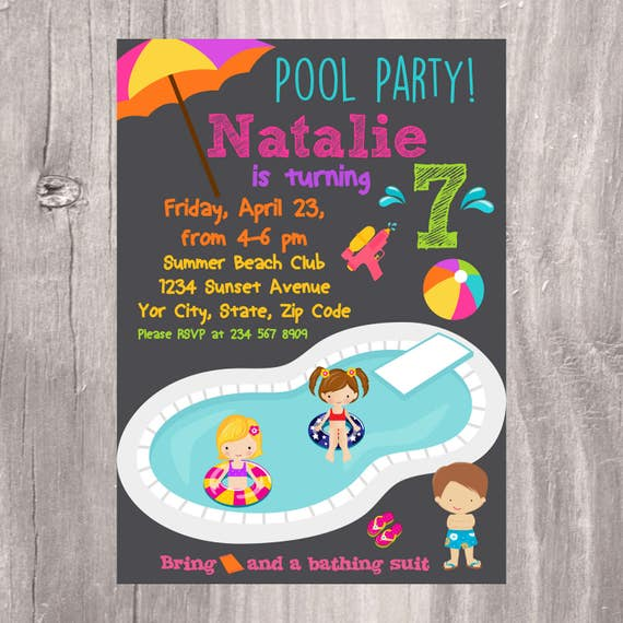 Pool Party Invitation Printable Birthday Party Invite Kids Party