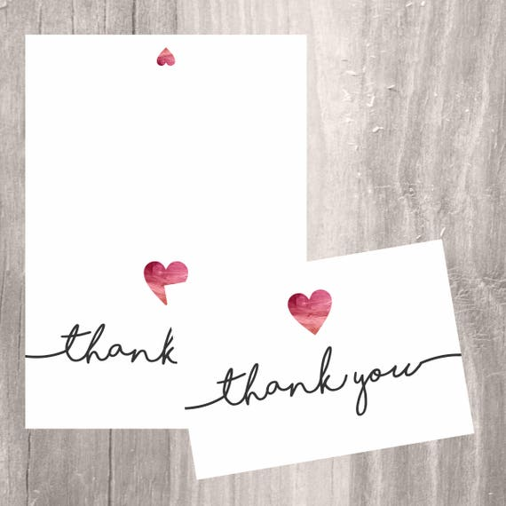 Simple Calligraphy Thank You Cards  Light Purple Watercolor  Brush Hand Lettering  Printed Folded Thank You Cards