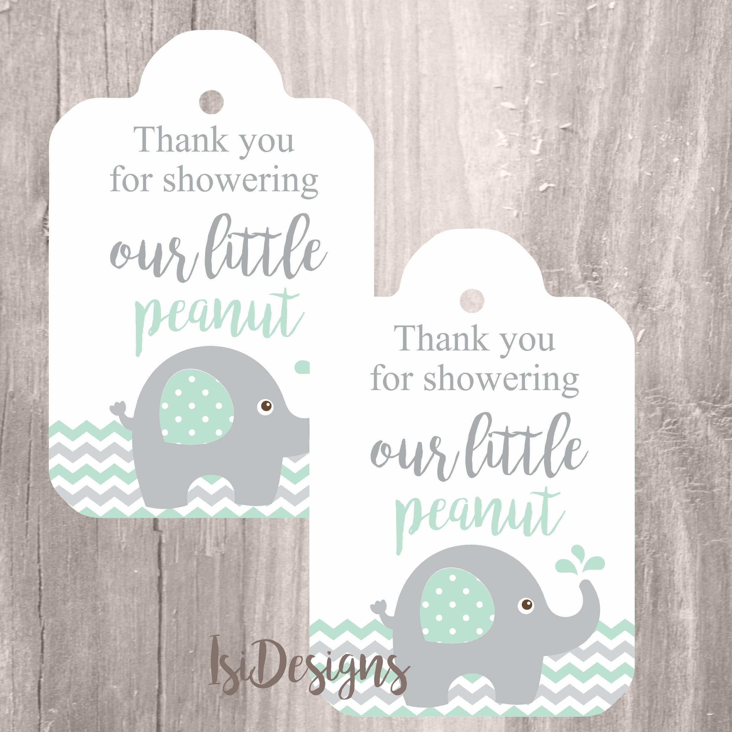 Elephant Printable Tags Instant Download Baby Shower Favor Etsy