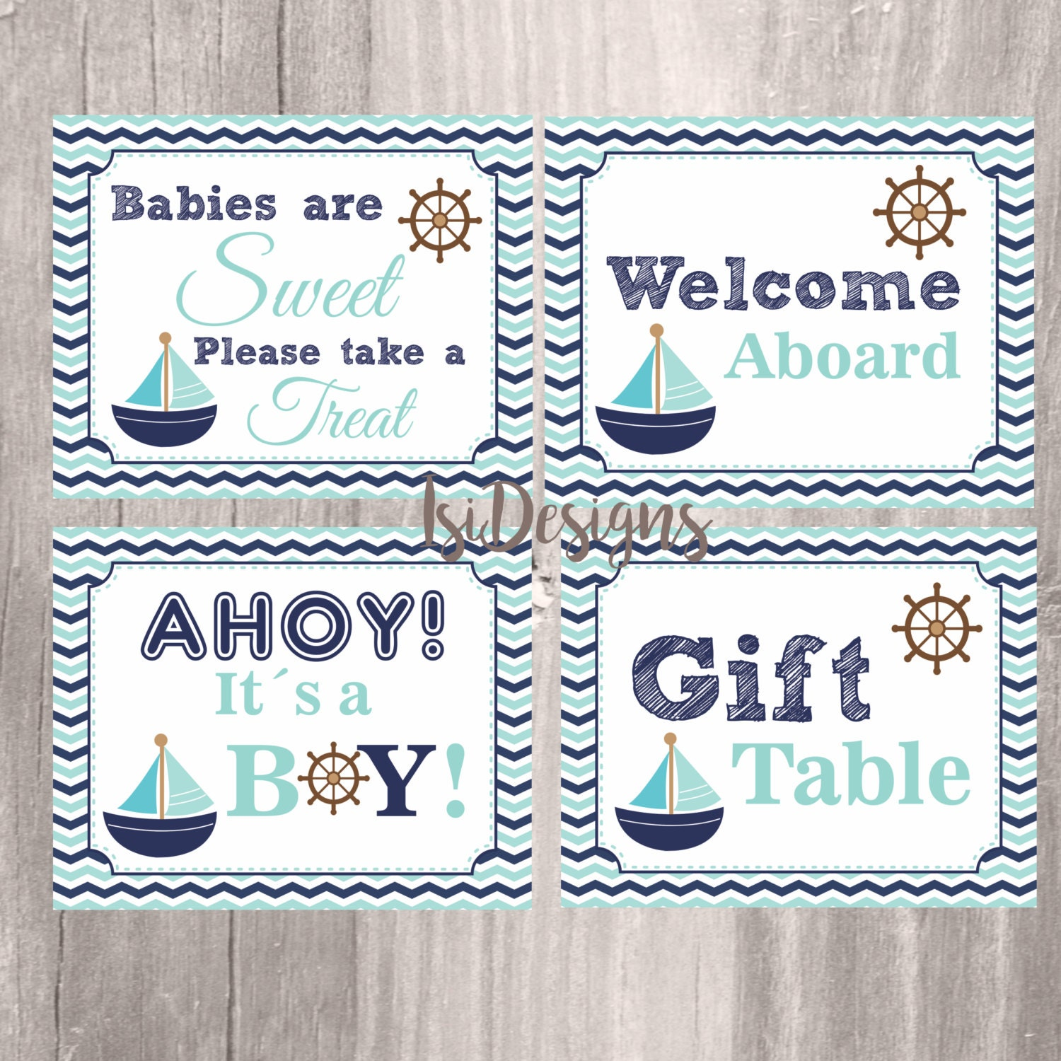 Teal And Navy Nautical Baby Shower Signs Printable Nautical Etsy