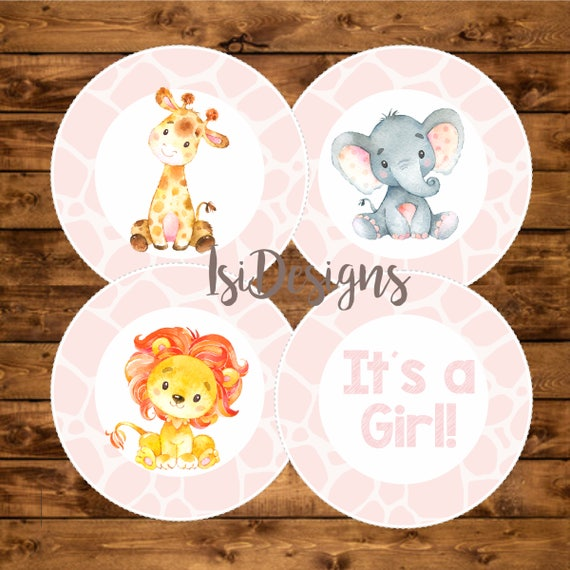 Pink Safari Baby Shower Printable Centerpieces Pink Animal Print Girl Baby Shower Centerpieces Instant Download Shower Decoration