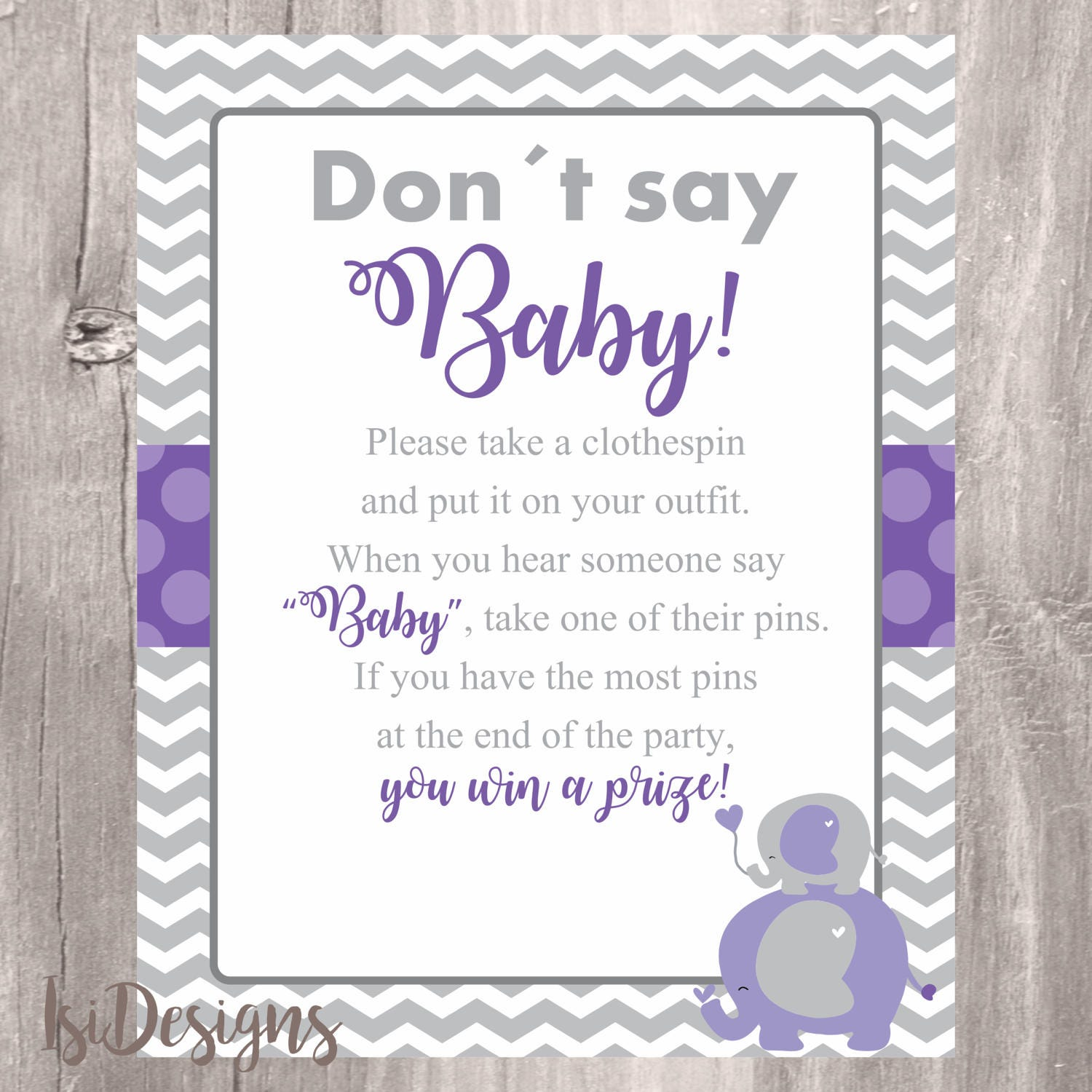 Don T Say Baby Game Purple Elephants Baby Shower Game Etsy