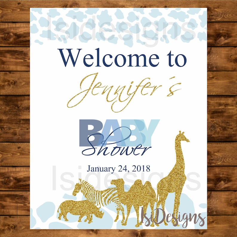 Safari baby shower welcome sign blue and gold jungle animals image 0
