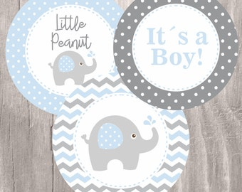 Blue Elephant Baby Shower Printable Centerpieces, Blue and Grey Elephant Baby Boy Centerpieces, Instant Download, Baby Shower Decoration