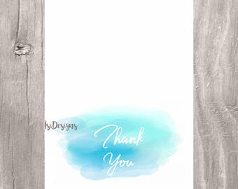 Watercolor Thank you cards, printable watercolor blue thank you note, INSTANT DOWNLOAD, blue watercolor thank you cards