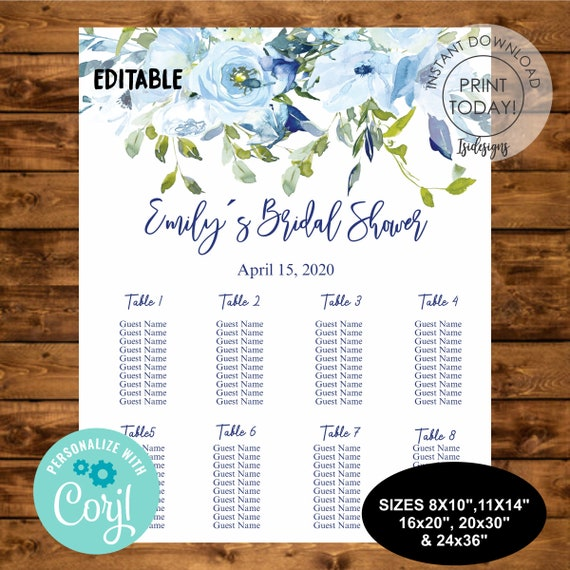 Various Sizes Seating Plan Bridal Shower Seating Chart Personalized PDF and JPG Files Vintage By Table Floral Options