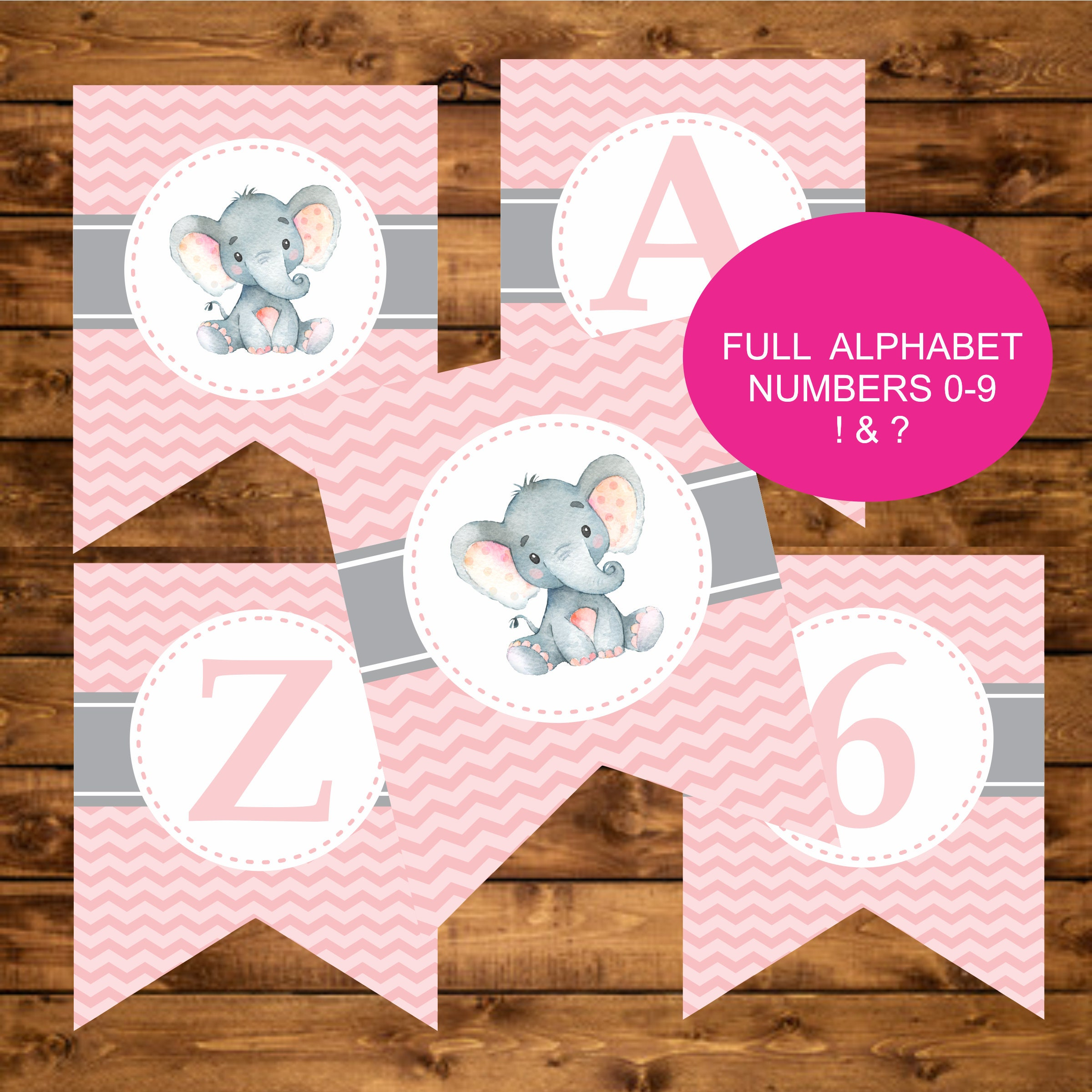 Pink Elephant Printable Banner Elephant Baby Shower Banner | Etsy