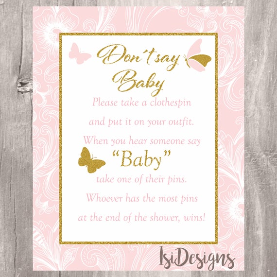 graphic about Don T Say Baby Game Printable titled Dont Say Little one Video game, Printable Butterflies Purple and Gold