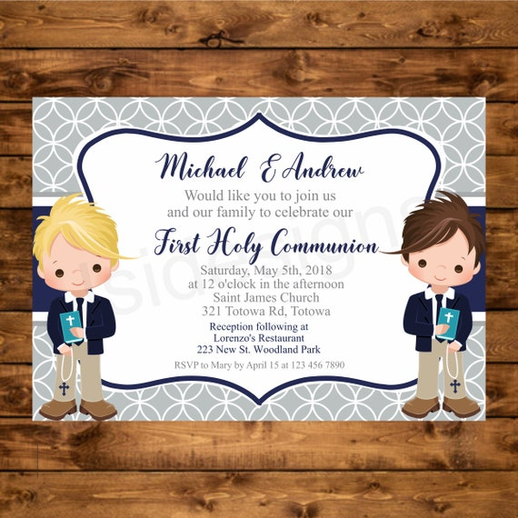 image regarding Printable First Communion Invitation referred to as Boys Initial Communion Invitation, Printable Very first Holy Communion Military services and Grey Invite, Invitacion Primera Comunion, Brothers Communion Invite