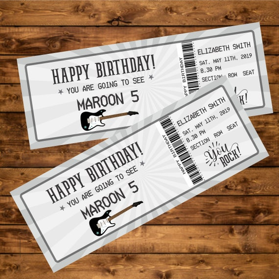 Birthday Gift Rock Concert Ticket, Printable Gift