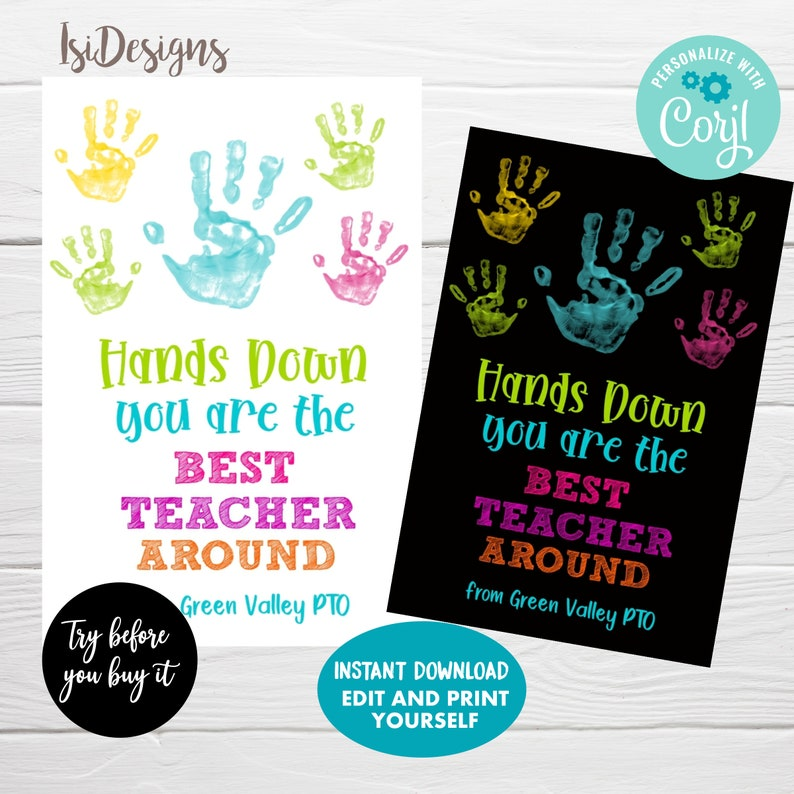 Teacher Appreciation Gift Tags Hands Down Favor Tags Instant Download You/'re the Best Teacher Around
