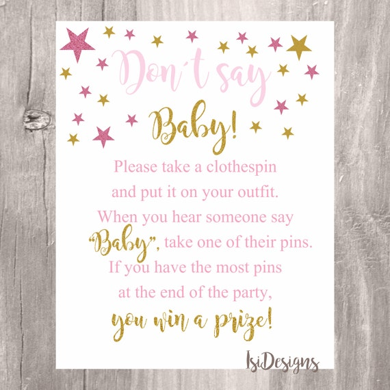 graphic about Don't Say Baby Sign Free Printable named Dont Say Kid Indicator, Child Shower Recreation, Printable Crimson and
