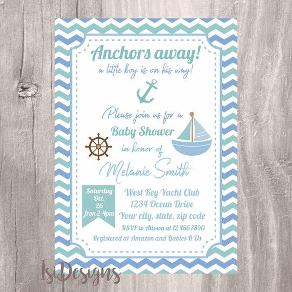 Baby Shower Invitation Nautical Baby Shower Invite Personalized