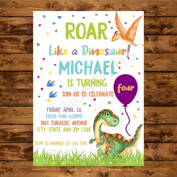 Dinosaur Birthday Invitation Printable T Rex Party Invite