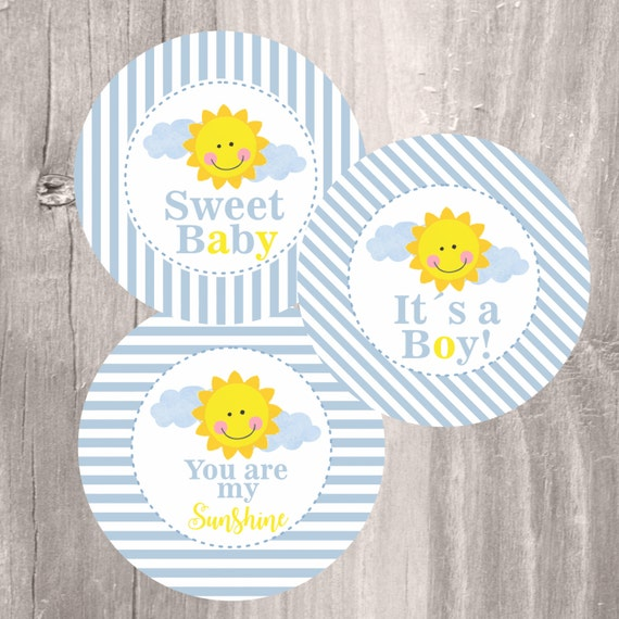 Sunshine Baby Shower Centerpieces Printable Blue And Yellow You Are