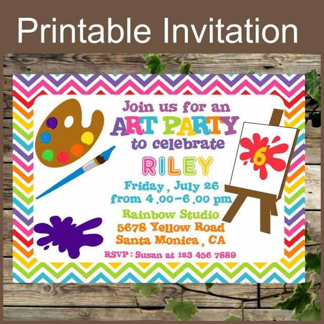 Printable Art Party Invitation Birthday Colorful Rainbow Kids Invite