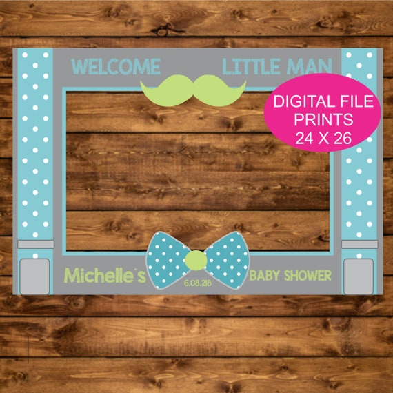 Personalized Little Man Photo Booth Frame Printable 24 X 36