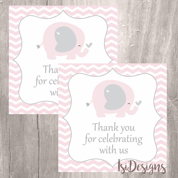 graphic about Printable Baby Shower Tags titled Purple Elephant Prefer Tags, Printable Kid Shower Elephant