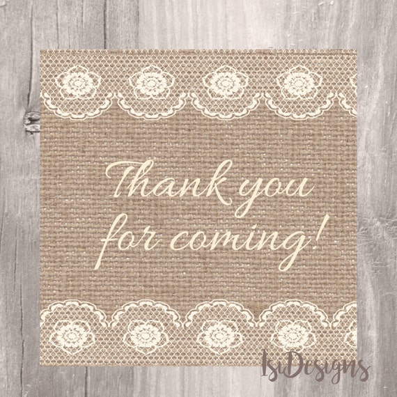 Burlap And Lace Printable Baby Shower Favor Tags Burlap Thank Etsy