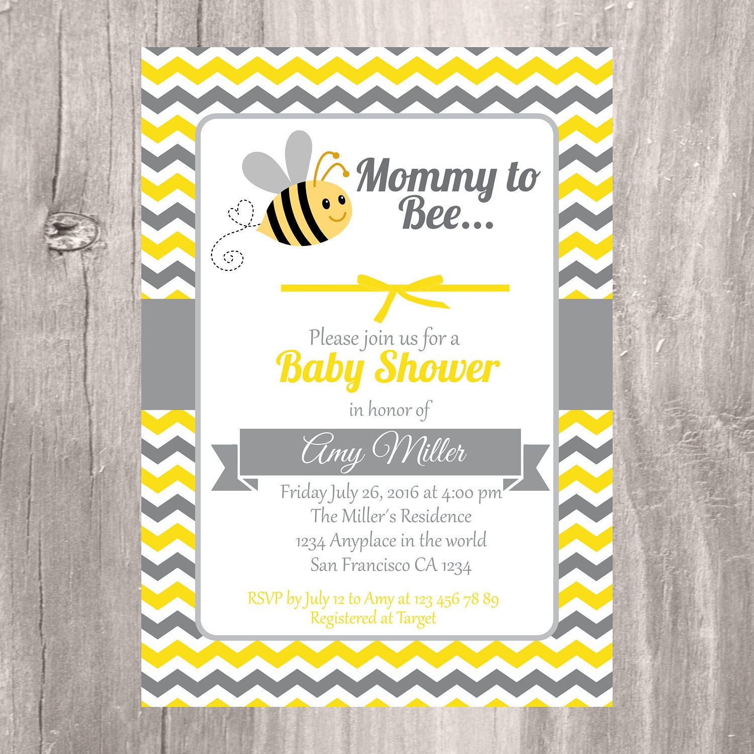 Baby Shower Invitation Printable Bumble Bee Baby Shower | Etsy