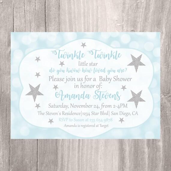Baby-Dusche Einladung Twinkle Twinkle kleine Sterne Babyparty   Etsy