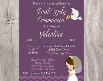 Girl First Holy Communion Invite, Printable Invitation First Communion, Purple Communion Invite for Girl, Invitacion Primera Comunion Niña