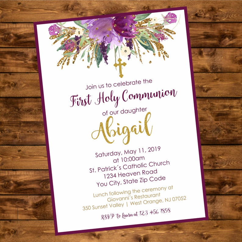 First Holy Communion Invite Printable Floral Purple And Gold Etsy
