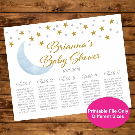 Digital File Colors Available Printable Baby Shower and Birthday Seating Chart Pink /& Gold