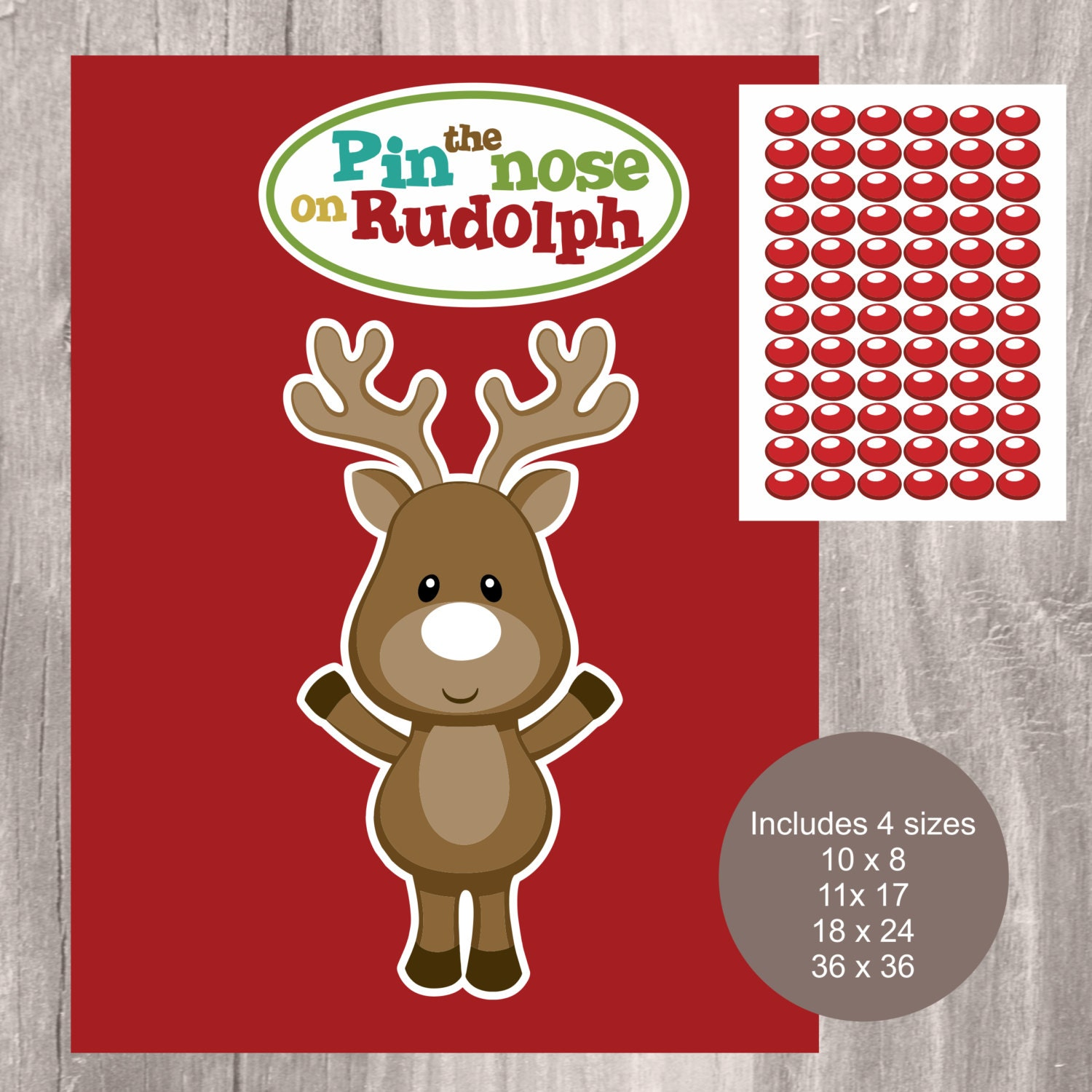 image regarding Pin the Nose on the Reindeer Printable titled Xmas Printable Activity, Pin the Nose upon Rudolph, Instantaneous Obtain, University and Loved ones Social gathering Match, Pin the Nose upon Reindeer Printable Video game